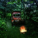 Old Wrecked Car Forest Escape